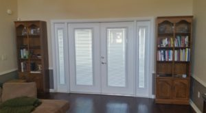 Double french patio doors with blinds between